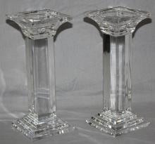 Pair of crystal taper or pillar candle holders. 9