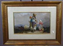 Oil on artist board farmworkers. Artist signed l/r. 11 7/8