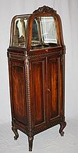 French Louis XVI mahogany glass top display case