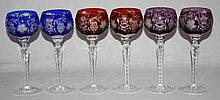 Lot of 6 colored cut to clear crystal wine glasses