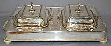 Sheffield silverplate double chafing dish