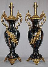Pair of glazed ceramic & gilt bronze mounted lamps