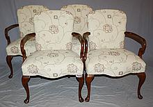 Set of 4 Queen Anne style armchairs