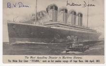 Titanic Postcard signed by Bertram & Millvina Dean