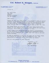Memphis Belle Signed Letter Robert K Morgan