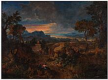 PAYSAGE ROMAIN ANIMÉ DE PERSONNAGES  Attribué à Gaspard DRUGHET (1615-1675)