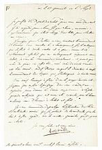 BONAPARTE NAPOLÉON Lettre signée « Bonaparte », adressée au général Brune. Paris, 13 germinal an VI [2 avril 1798] ; 1 page in-folio