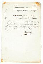 BONAPARTE NAPOLÉON Lettre signée « Bonaparte », adressée à l'ordonnateur en chef Daure. Quartier-Général du Caire le 26 nivôse an VII [15 janvier 1799] ; 1 page in-folio