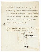 BONAPARTE NAPOLÉON Lettre signée « Bonaparte », adressée à l'ordonnateur en chef Daure. [Égypte, fin juillet, début août 1799] ; 1 page in-4° Petite perforation due à l'encre