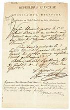 TOUSSAINT LOUVERTURE (Pierre-Dominique-Toussaint, dit) [Bréda, Saint-Domingue, 1743 - fort de Joux, 1803], Général de la Révolution et gouverneur de Saint-Domingue. Pièce autographe signée Port Républicain, 17 fructidor an VIII