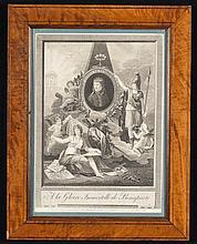 NAPOLÉON Ier Gravure représentant Napoléon par Naudet. Cadre en bois