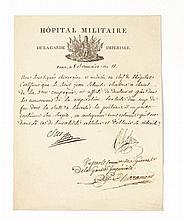 LARREY Dominique Jean, baron [Beaudéan, 1766 - Lyon, 1842], chirurgien militaire français. PIÈCE SIGNÉE PAR LARREY ET SUE. Paris, le 8 brumaire an XIII [30 octobre 1804] ; 1 page in 4°