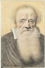 LAGNEAU (actif en France au XVIIe siècle) PORTRAIT D'HOMME À LA GRANDE BARBE Paris, Première moitié du XVIIe siècle MATÉRIAUX Crayon noir, sanguine, estompe et rehauts de blanc H. 34 cm, L. 25 cm
