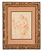 Attribué à Giovanni Francesco BARBIERI dit LE GUERCHIN (Cento, 1591-Bologne, 1666) JOSEPH ET JÉSUS Ecole de Bologne, XVIIe siècle MATÉRIAU: Sanguine Porte un monogramme en bas à gauche H. 24 cm, L. 18,5 cm (à vue)