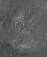Gustave DORÉ (Strasbourg, 1832-Paris, 1883) LA MORT D'ORPHÉE MATÉRIAU:Gouache blanche sur papier lavé gris Cachet de l'atelier en bas à droite H. 55 cm, L. 45 cm (à vue)