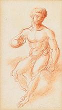 Roger de La FRESNAYE (Le Mans, 1885- Grasse, 1925) ÉTUDE D'HOMME ASSIS vers 1925 MATÉRIAU: Sanguine Cachet de l'atelier en bas à droite H. 17 cm, L. 10 cm (à vue)