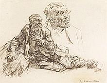 Léon Augustin LHERMITTE (Mont-Saint-Père, Aisne, 1844-Paris, 1925) ÉTUDE D'HOMME ALLONGÉ- MATÉRIAU: Fusain Signé en bas à droite H. 31,9 cm, L. 40,6 cm (à vue)