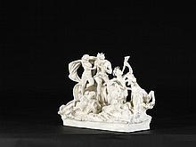 LE CHAR DE NEPTUNE Manufacture de Capodimonte Naples, seconde moitié du XVIIIe siècle MATÉRIAU: Porcelaine Marques : N couronné H. 39 cm, L. 57 cm, P. 30 cm Petits manques