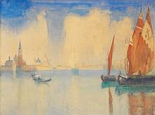 Richard BASELEER (Anvers, 1867- Anvers, 1951) LE GRAND CANAL- Matériau:Aquarelle sur papier-Signé en bas à droite-H. 97 cm, L. 103 cm