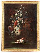 Giuseppe LAVAGNA (vers 1684-1724)DEUX NATURES MORTES AUX FLEURS FORMANT PENDANT Italie, début du XVIIIe siècle-Matériau: Toiles H. 102 cm, L. 75  cm  Accidents aux cadres, petites griffures