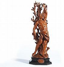 SAINT SÉBASTIEN &SAINT; BARTHÉLÉMY-Autriche ou Allemagne du Sud, XVIIe siècle MATÉRIAU: Buis Saint Sébastien : H. 61,5 cm, L. 22,5 cm, P. 14 cm Saint Barthélémy : H. 65 cm, L. 23 cm, P. 14 cm