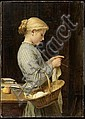 ANKER, ALBERT (1831 Ins 1910) Girl knitting. 1888., Albert Anker, Click for value