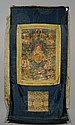 A THANKA OF SIX LUOHAN AND TWO HEAVENLY KINGS. Tibet, 18th/19th c. 56x38 cm. Canvas a bit fragile. Mounted in brocade.