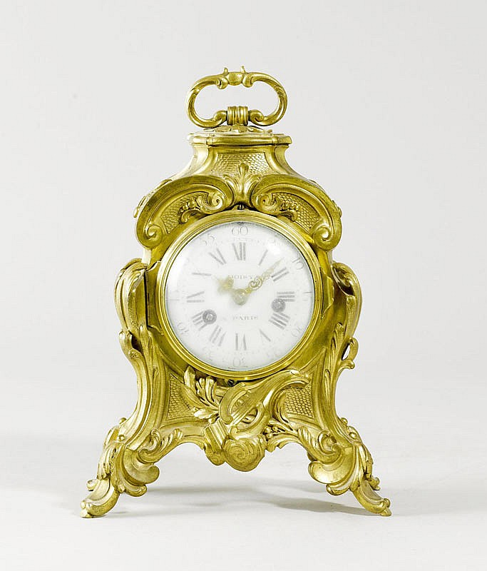 A SMALL BRONZE TABLE CLOCK, late Louis XV, Paris,