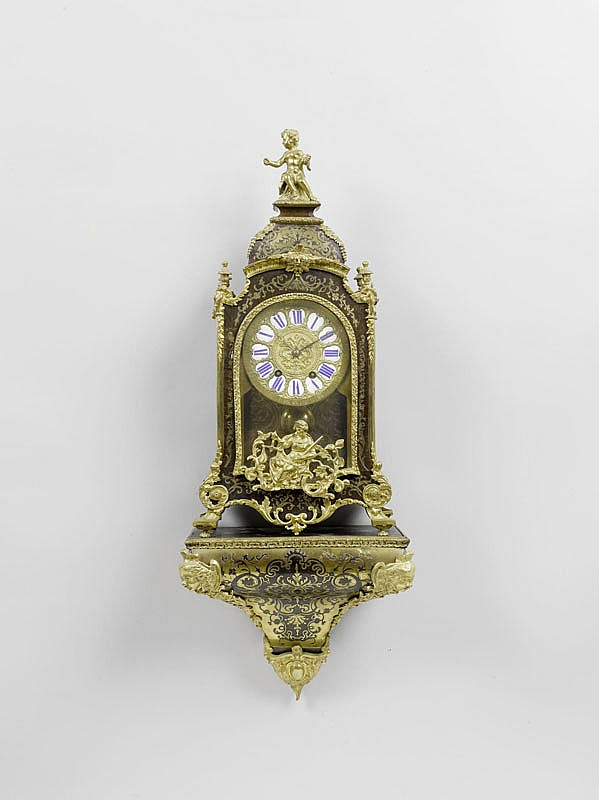 A BOULLE CLOCK ON PLINTH, Napoléon III in the
