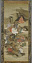 A FINE KAKEMONO OF THE 16 RAKAN WITH SEIOBO. Japan, Edo period, 136x57 cm. Nice silk brocade mounting.