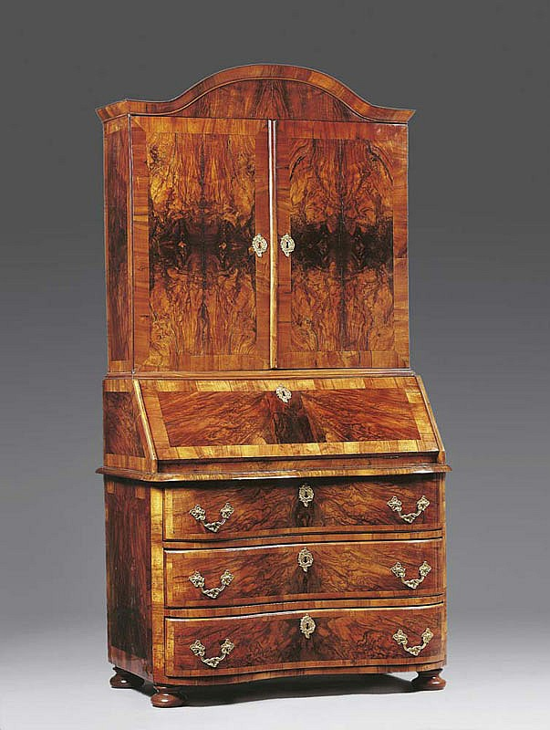 A BAROQUE BUREAU CABINET WITH UPPER SECTION,