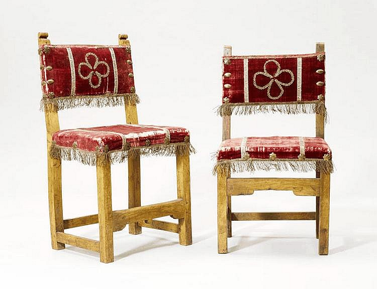A PAIR OF RENAISSANCE STYLE CHAIRS, partly made of