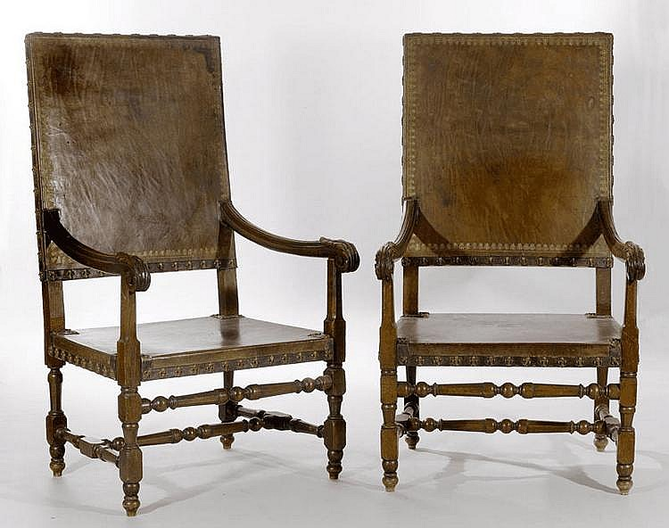 PAIR OF ARMCHAIRS, Louis XIV style, circa 1900.