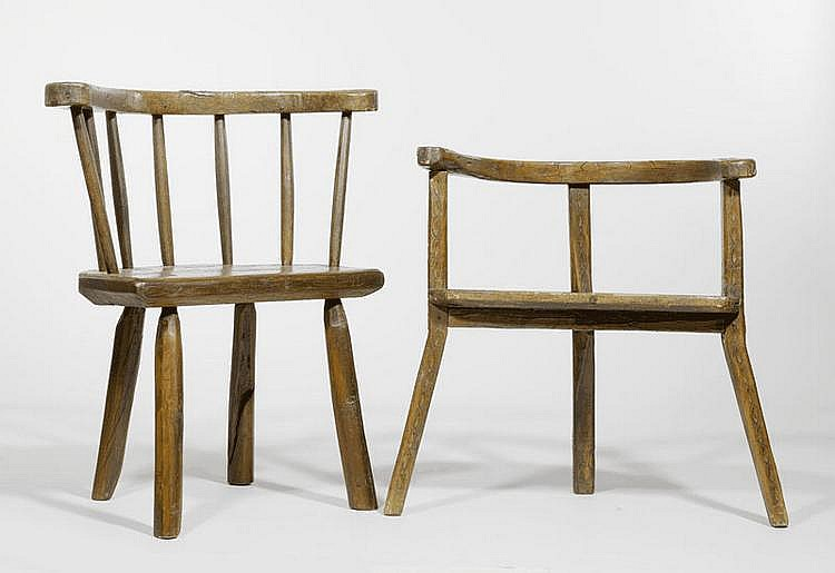2 RUSTIC ARMCHAIRS, alpine region, 20th c.