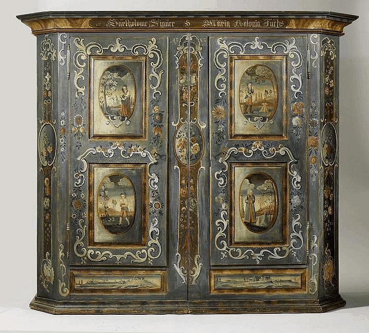 A SWISS PAINTED FOUR SEASONS ARMOIRE, Toggenburg,