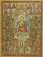 A THANGKA OF SHAKYAMUNI.