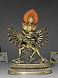 A LARGE GILT BRONZE FIGURE OF HEVAJRA YAB-YUM.