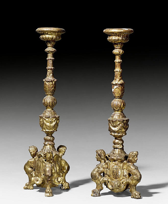 PAIR OF CANDLESTICKS 'AUX ANGELOTS', Baroque,