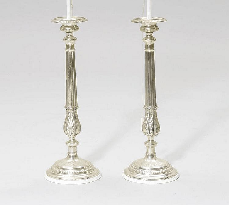 PAIR OF CANDLESTICKS AS LAMPS, Louis XVI style.