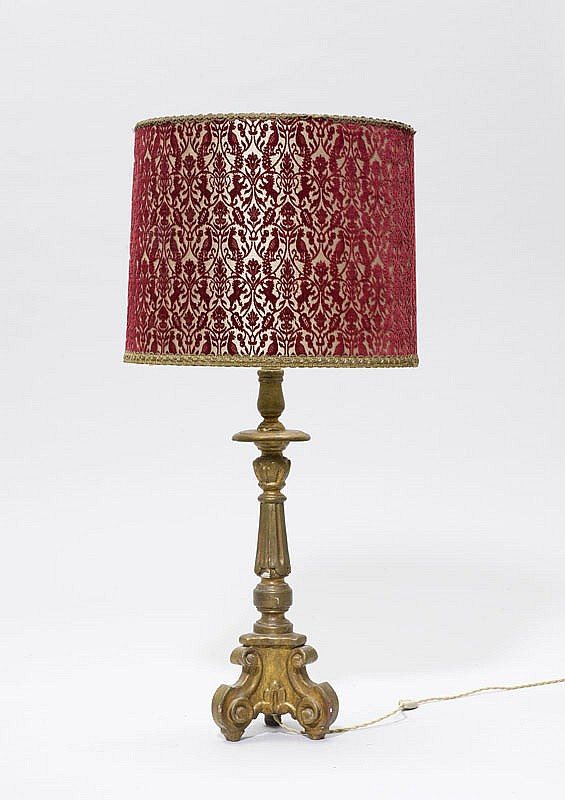 ALTAR CANDLESTICK MOUNTED AS A TABLE LAMP, late