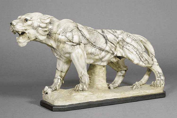 TIGER SCULPTURE, probably circa 1900. White/black