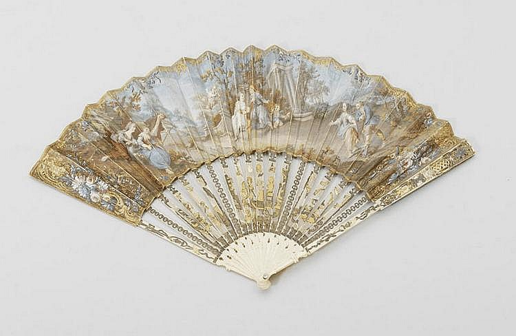 FAN, France, 18th/19th century. Ivory with fine