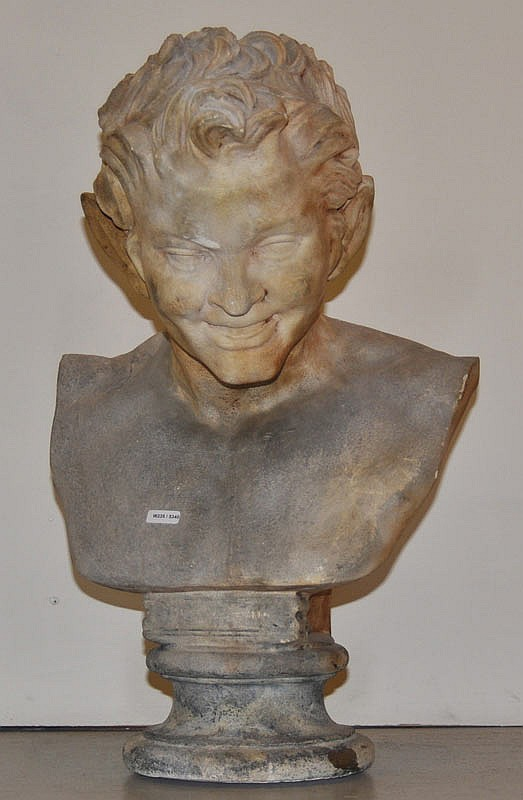 BUST OF THE DEVIL, 20th century. Terracotta. H 54