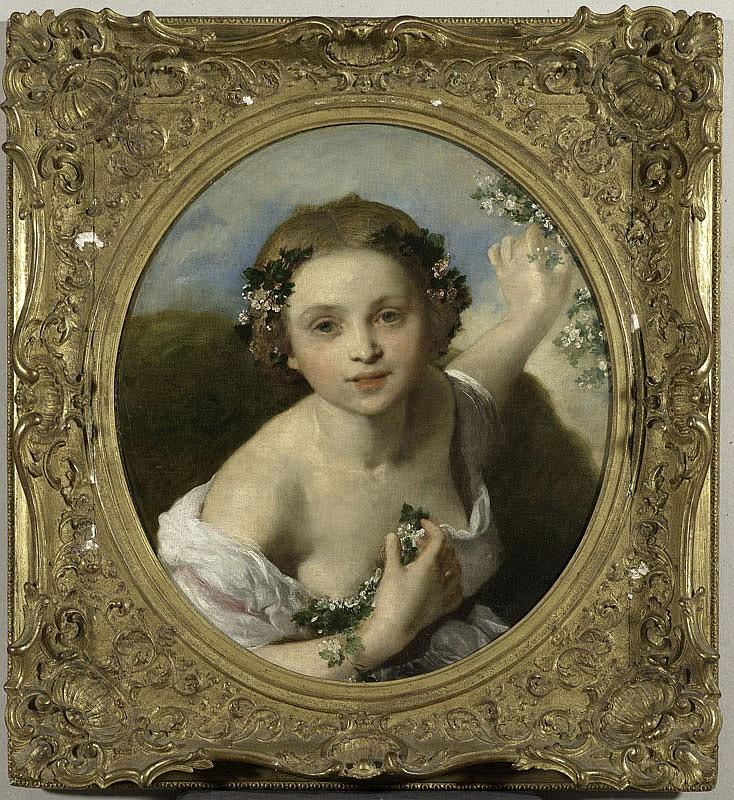 WINTERHALTER Jeune fille aux fleurs Huile sur