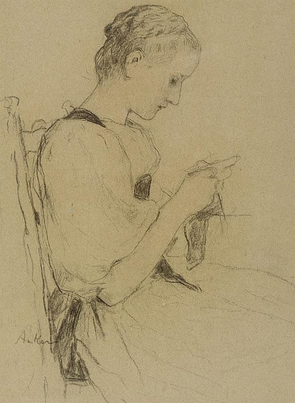 ANKER, ALBERT (1831 Ins 1910) Seated girl
