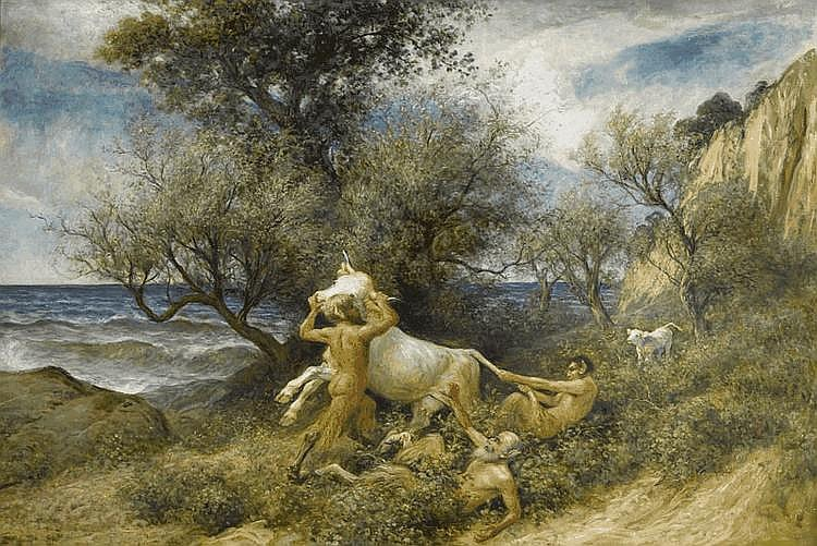 KOLLER, RUDOLF (1828 Zurich 1905) Three fauns with