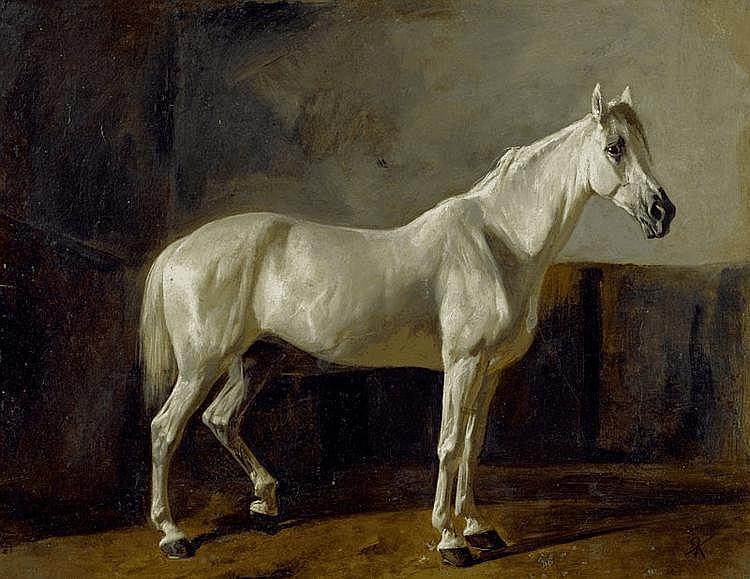 KOLLER, RUDOLF (1828 Zurich 1905) White horse. Oil