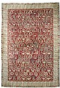 AGRA antique.Red ground, patterned throughout with
