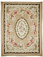 AUBUSSON antique.Beige ground with a floral