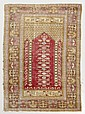 GHIORDES PRAYER antique.Red mihrab with a tree of